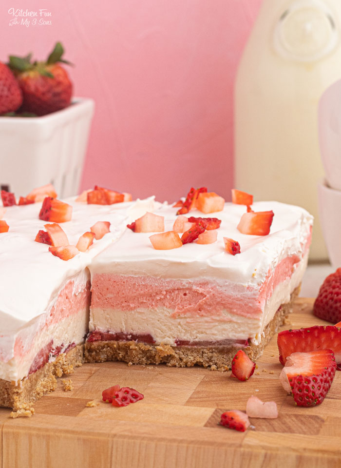 Strawberry Delight is my favorite no-bake dessert. It is four layers of strawberry sweetness with a cool whip topping.