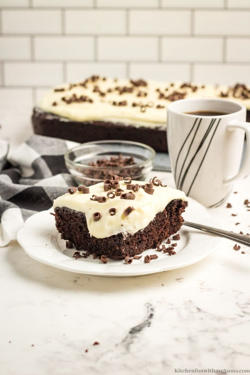 A piece of cake with a cup of coffee.