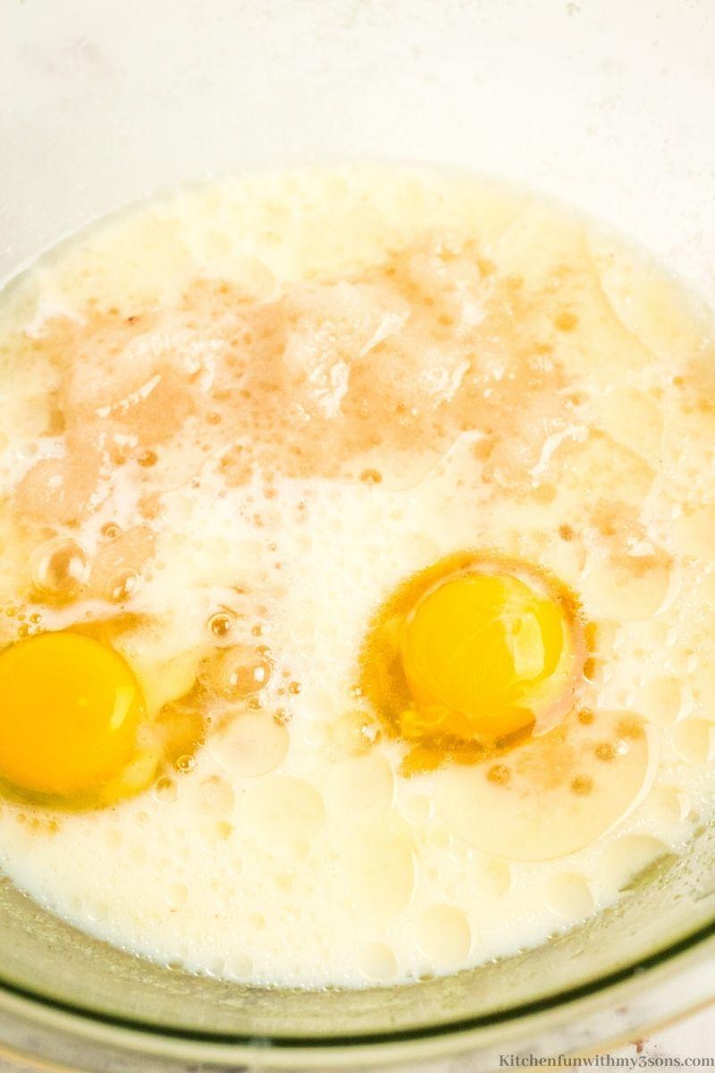 Adding in the eggs.