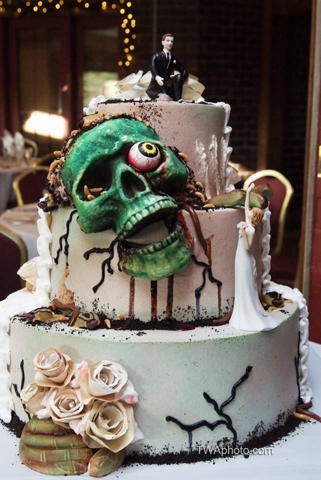 Geek Cake Friday   Kitchen Overlord Geek Cake Friday  21 Zombie Wedding Cakes