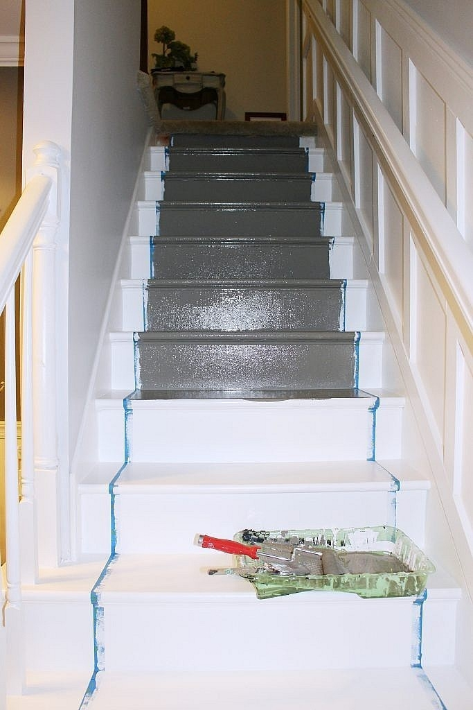 Paint Stairs Painted Stairs Painting Stairs Transform Staircase | Wood And Painted Stairs | Diy | Before And After | Striped | Refinish | Oak