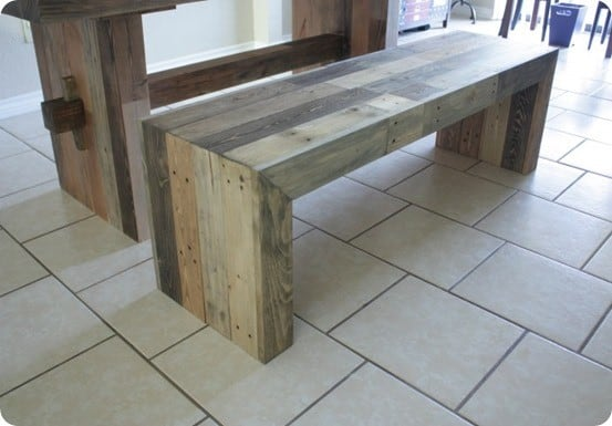 Faux Reclaimed Wood Bench For 27 Knockoffdecor Com