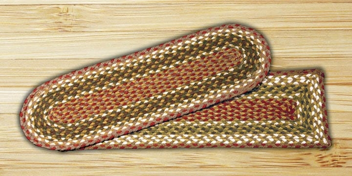 Earth Rugs Olive Burgundy Gray Braided Stair Treads | Earth Rugs Stair Treads | Natural Jute | Burgundy Mustard | Non Slip | Area Rugs | Mats Rugs