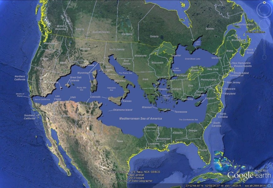 The Mediterranean Sea of America If you superimpose the Mediterranean Sea  and the Black Sea  over a map of  the United States  map by Bret Drager      creating geographic landmarks like  the