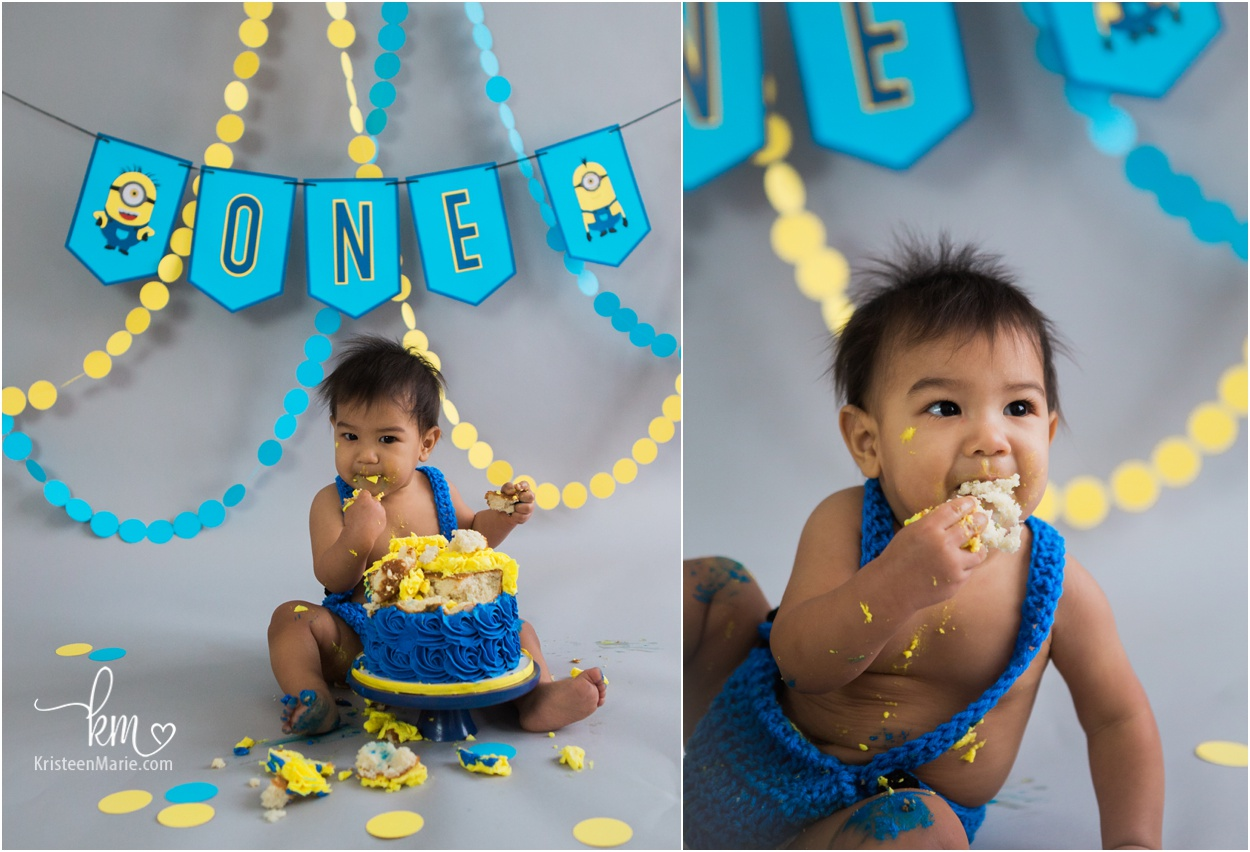 Minion 1st Birthday Cake Smash Session Kristeenmarie Photo
