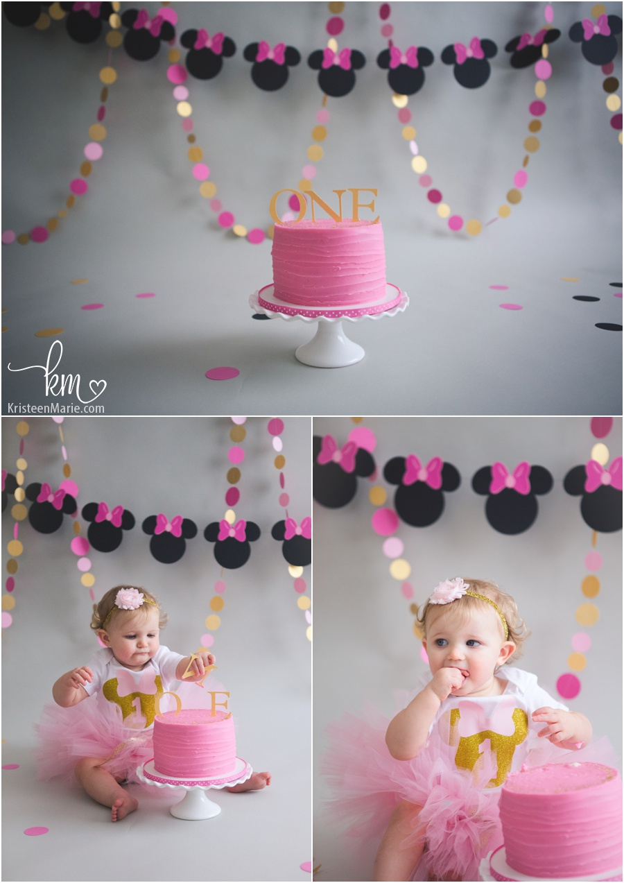 Pink And Gold Minnie Mouse Cake Smash Session