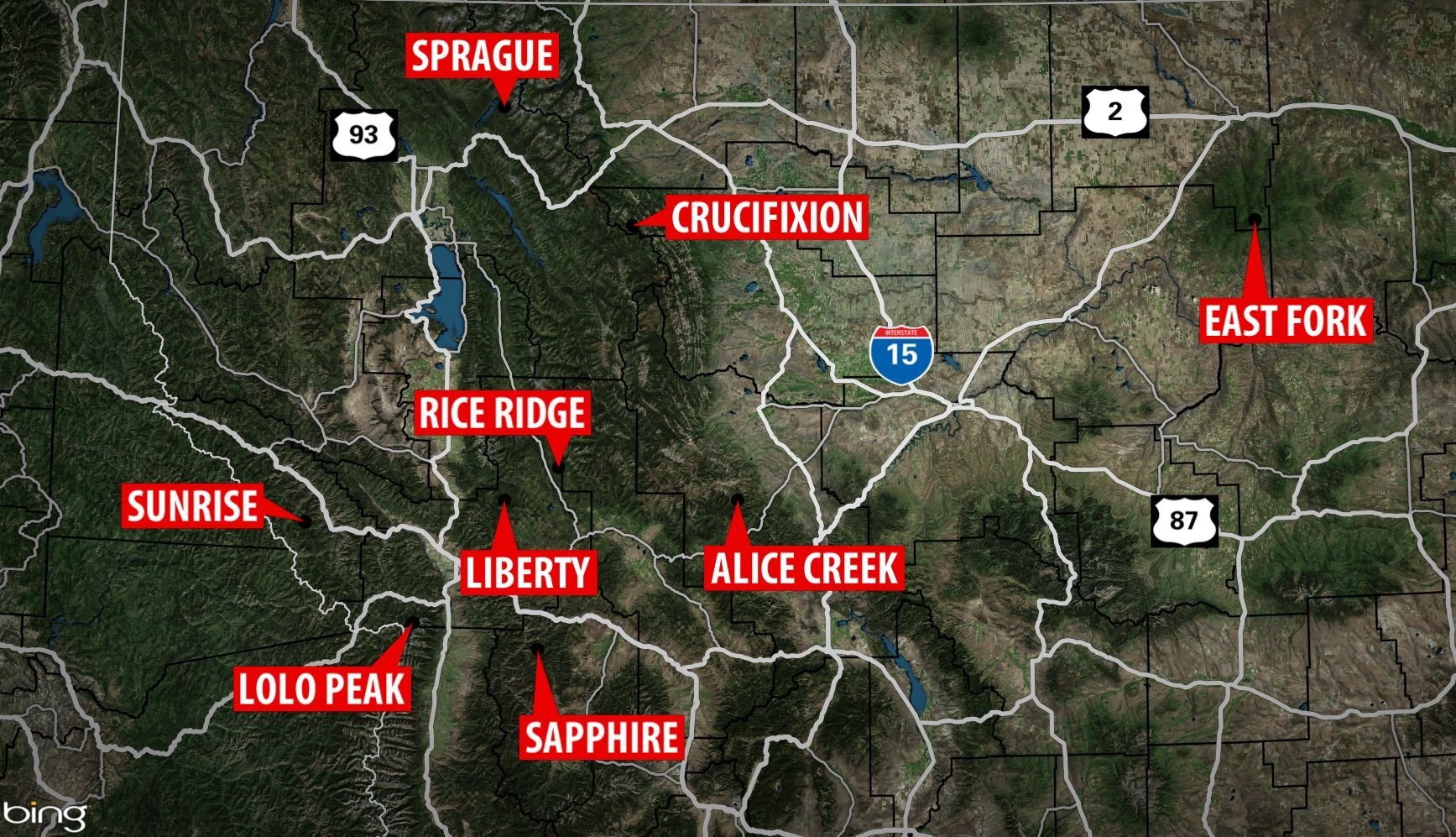 Map  20 Largest Wildfires In Montana  Fri Sep 1    KXLH com   Helena     Map  20 Largest Wildfires In Montana  Fri Sep 1    KXLH com   Helena   Montana