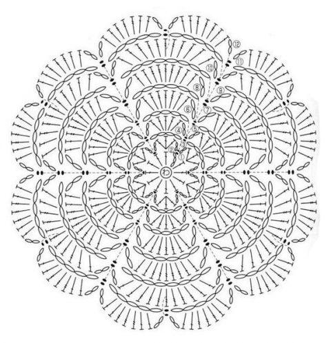 Многослойная роза, схемы вязания