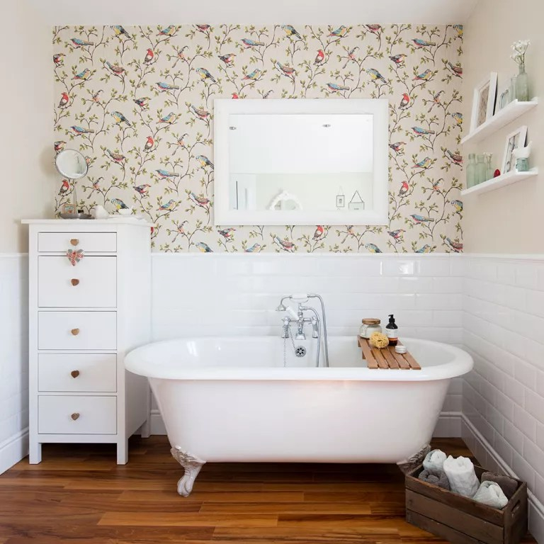 Bathroom wallpaper ideas that will elevate your space to stylish new     Bathroom wallpaper ideas bird print
