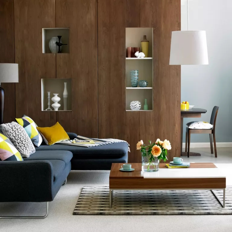 Open Plan Living Room Ideas To Inspire You Ideal Home   Partition Of Stairs In Living Room   Lobby   Storage   Open Plan   Divider   Wood Paneling