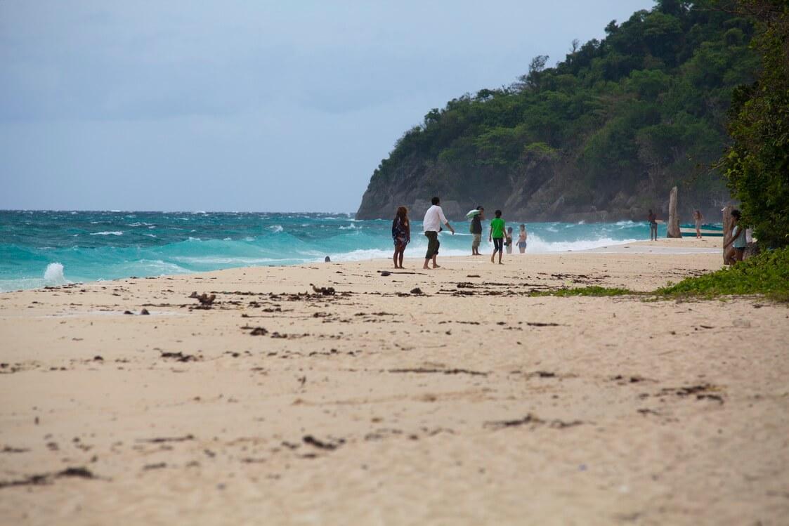Pláž bunch-shell beach