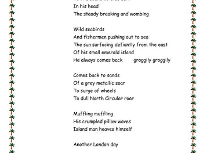 Island Man poem analysis by magz2978 | Teaching Resources