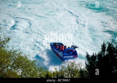 Tourist Jet Boat, Huka Falls, Waikato River, Taupo, North ...