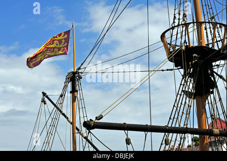 Masts And Rigging Of The Replica Of The Golden Hind