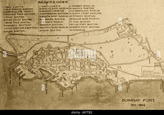 Old Map 1800 Stock Photos   Old Map 1800 Stock Images   Alamy Old vintage 1771 to 1864 map of fort  mumbai  maharashtra  india  asia