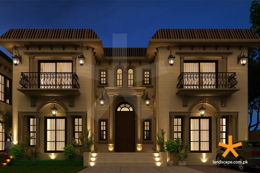 Grand Spanish House Design Landscape Plc   Home Front Staircase Design   Entrance Front Door Stair   Home Jina   Ghar   Roof Railing Brick   Outer Wall