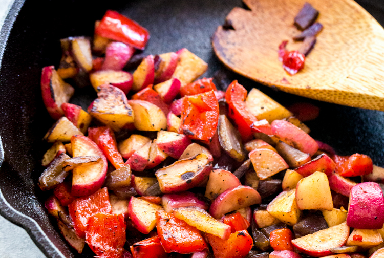 Horizontal photo of Low Carb Hash with wooden spoon