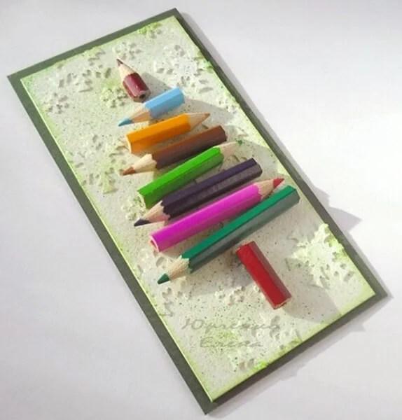 کارت پستال برای سال نو با دستان خود: صنایع دستی ساده و اصلی در مهد کودک و مدرسه Novogodnyaya otkrytka Svoimi Rukami 60