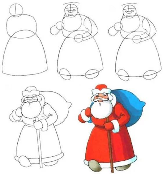 Dessins pour sujets de Noël: Que peut-on tirer sur la nouvelle année Risunki Na Novogodnyuyu Temu 4