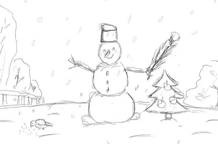 크리스마스 주제용 도면 : 새해에 그려지는 것은 risunki novodnodnyuyu temu 40