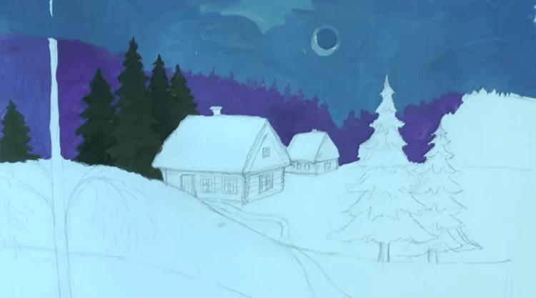크리스마스 주제용 도면 : 새해를 위해 무엇을 그릴 수 있습니까? Risunki NovoDnyuyu Temu 90
