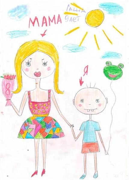 Çocukların Anneler Günü için Çizimleri: Paper'da Anne için Sevginizi Ekspres Risunok Na Den Materi 55