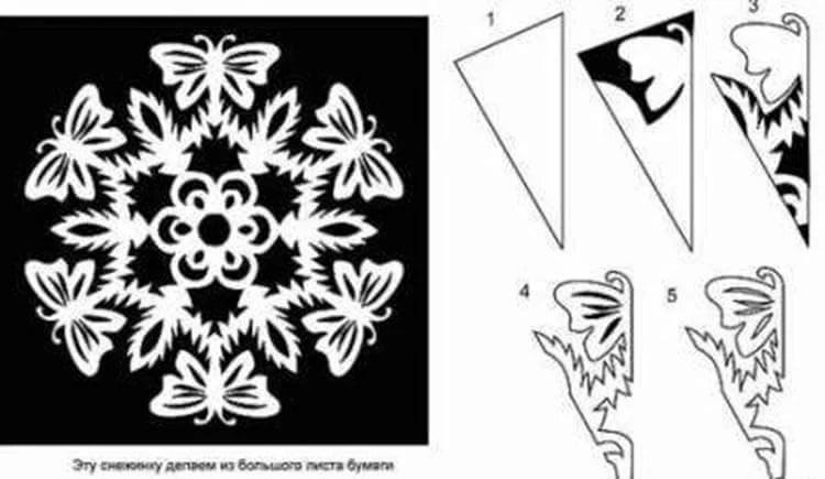 新年美丽的原始雪花:创建自己的手,模板与照片Snezhinki Iz Bumagi Svoimi Rukami 63