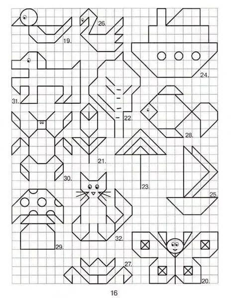 Vackra och enkla ritningar på celler i anteckningsböcker för nybörjare Graficheskie Risunki Po Kletochkam 136