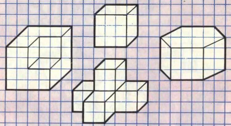 Vackra och enkla teckningar på celler i anteckningsböcker för nybörjare Graficheskie Risunki Po Kletochkam 174