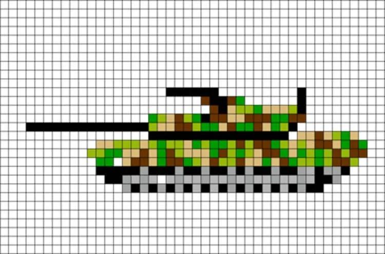 Vackra och enkla ritningar på celler i anteckningsböcker för nybörjare Graficheskie Risunki Po Kletochkam 45