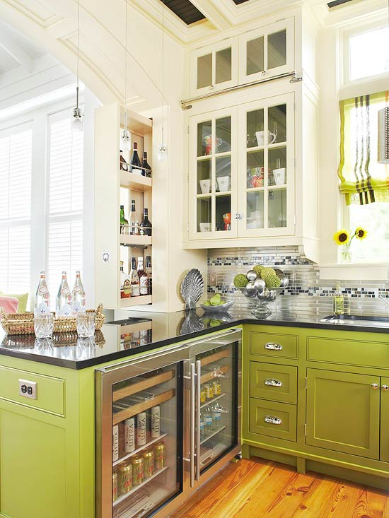 12 Of The Hottest Kitchen Trends   Awful or Wonderful    Laurel Home kitchen trends chartreuse green and white kitchen
