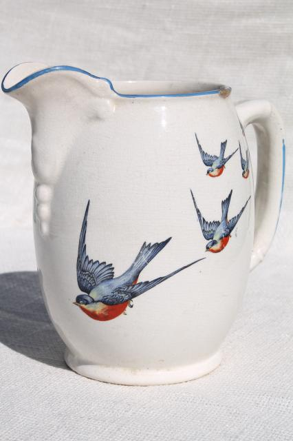 Antique Buffalo China W Bluebirds Vintage Blue Bird