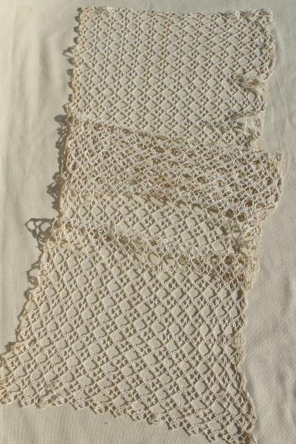 Antique Handmade Lace Table Runner Early 1900s Vintage