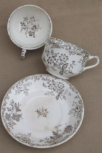 Antique Vintage Brown Transferware China Cups Amp Saucers
