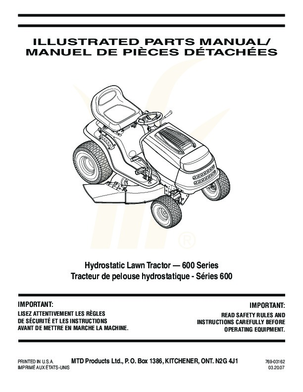 Huskee Riding Mower Owners Manual