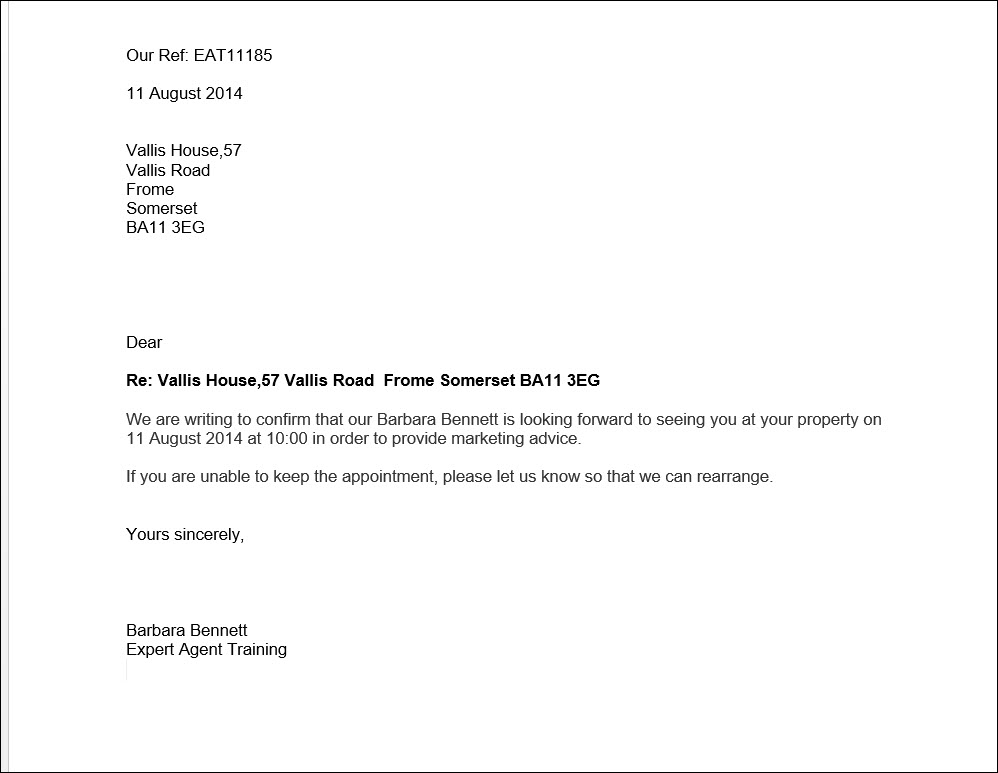 Example Letter Confirming Meeting