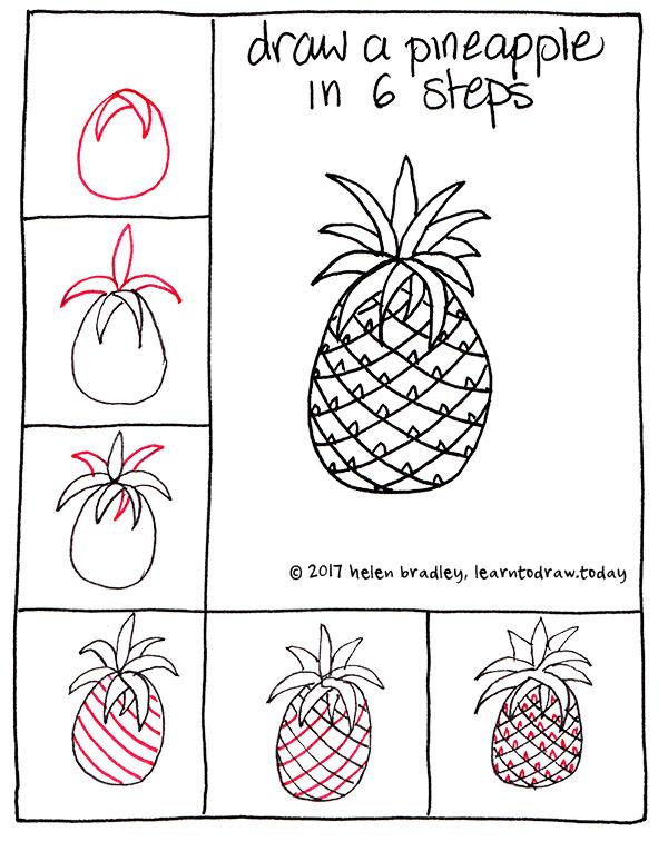 Cute Step Easy Pineapple Drawings Step