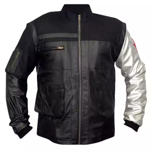 Captain America Civil War Winter Soldier Bucky Barnes Leather Jacket 1-New