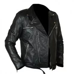 Negan Walking Dead Black Biker Leather Jacket 4