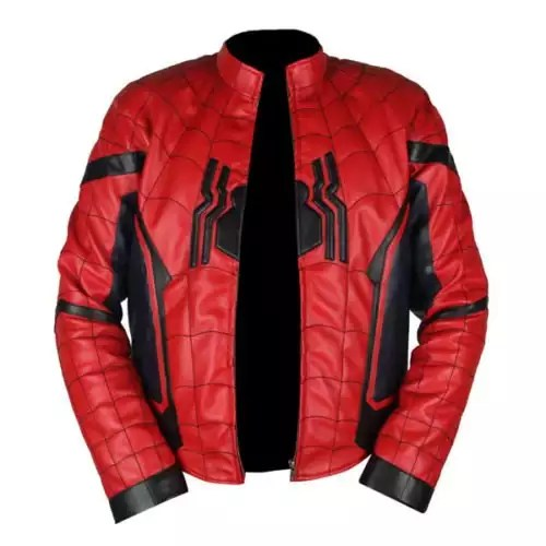 Spider-Man Homecoming Red & Dark Blue Leather Jacket 5