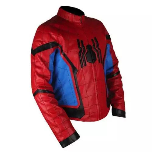 Spider-Man Homecoming Red & Light Blue Leather Jacket3