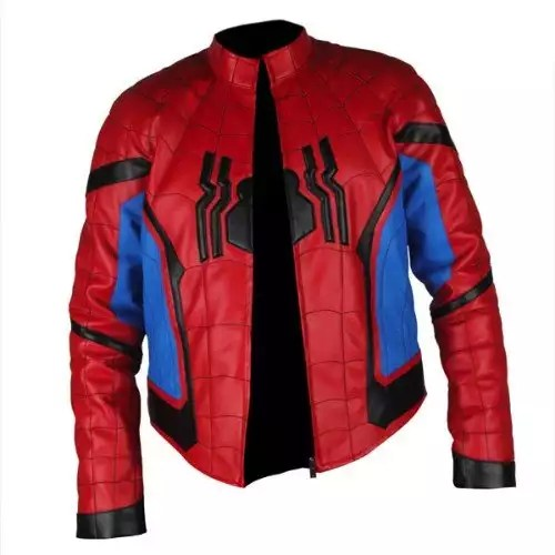 Spider-Man Homecoming Red & Light Blue Leather Jacket5