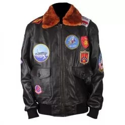 Top Gun Genuine Brown Bomber Leather Jacket with Fur Collar