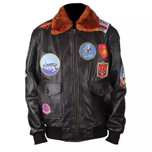 Top Gun Genuine Brown Bomber Leather Jacket with Fur Collar 1