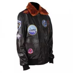 Top Gun Genuine Brown Bomber Leather Jacket with Fur Collar 2