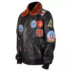Top Gun Genuine Brown Bomber Leather Jacket with Fur Collar 3