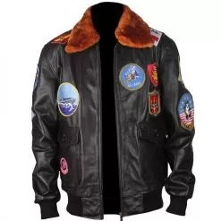 Top Gun Genuine Brown Bomber Leather Jacket with Fur Collar 5