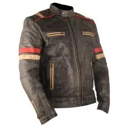 Vintage Retro Motorcycle Cafe Racer Moto Distressed Blue Genuine Leather Jacket 2