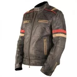 Vintage Retro Motorcycle Cafe Racer Moto Distressed Blue Genuine Leather Jacket 3