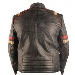 Vintage Retro Motorcycle Cafe Racer Moto Distressed Blue Genuine Leather Jacket 4